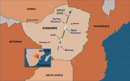 Zim Platinum Production Expected To Drop Business Daily News - Where is zimbabwe