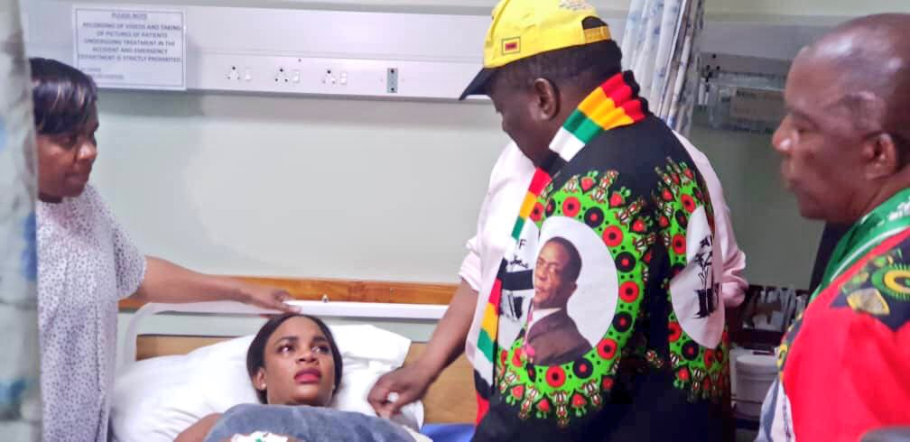 Mnangagwa visits the injured in hospital